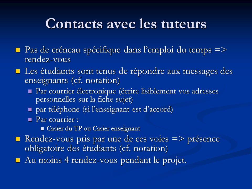 Contacts avec les tuteurs Pas de créneau spécifique dans lemploi du temps => rendez-vous Pas de créneau spécifique dans lemploi du temps => rendez-vou