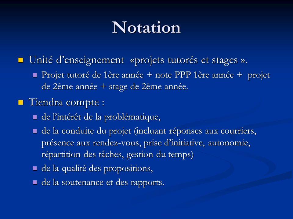 Notation Unité denseignement «projets tutorés et stages ». Unité denseignement «projets tutorés et stages ». Projet tutoré de 1ère année + note PPP 1è