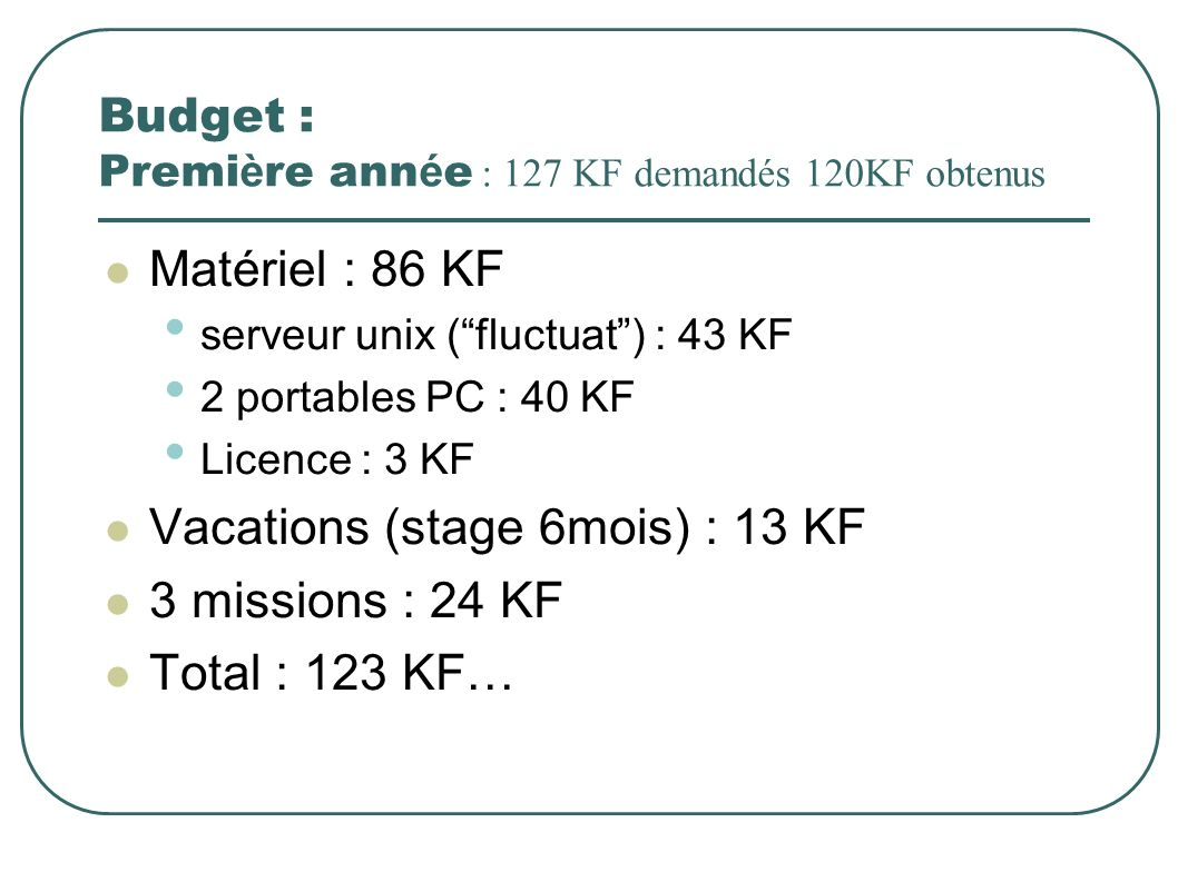 Budget : Premi è re ann é e : 127 KF demandés 120KF obtenus Matériel : 86 KF serveur unix (fluctuat) : 43 KF 2 portables PC : 40 KF Licence : 3 KF Vacations (stage 6mois) : 13 KF 3 missions : 24 KF Total : 123 KF…
