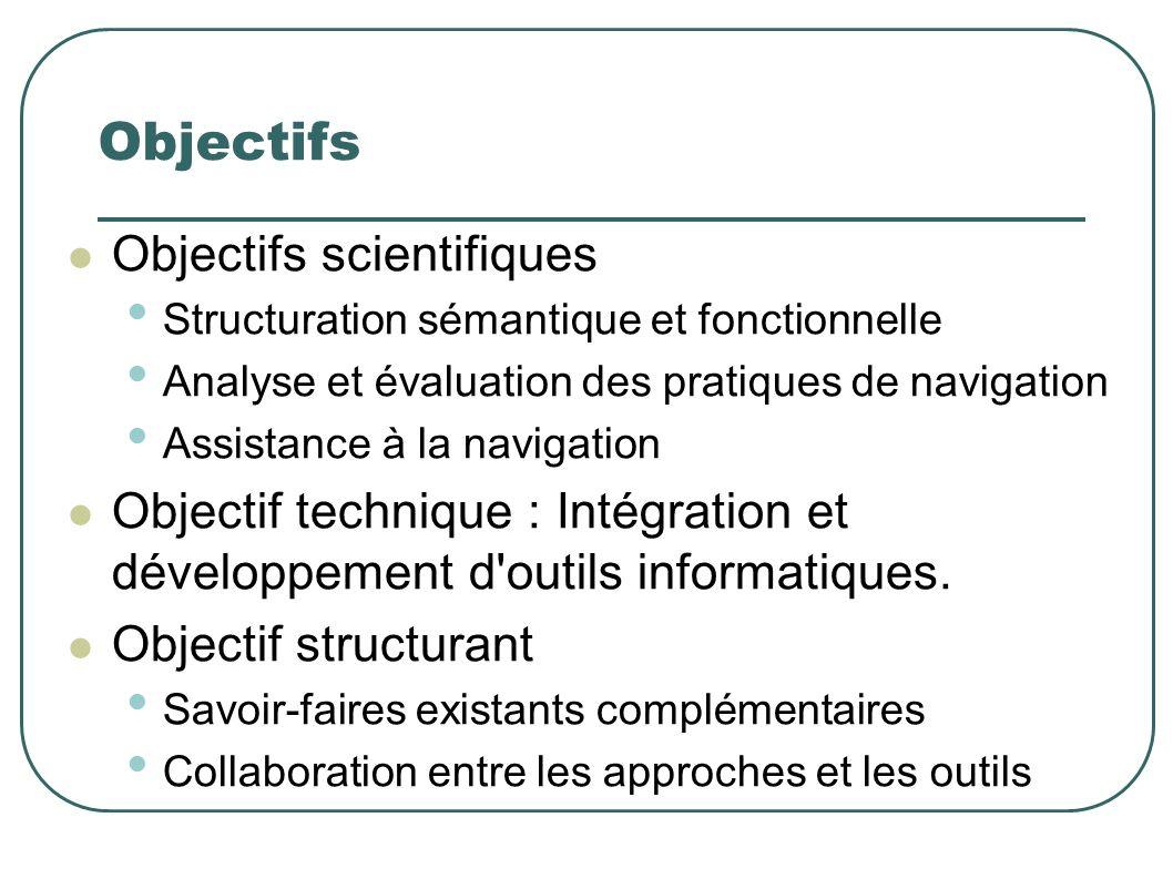 Objectifs Objectifs scientifiques Structuration sémantique et fonctionnelle Analyse et évaluation des pratiques de navigation Assistance à la navigation Objectif technique : Intégration et développement d outils informatiques.