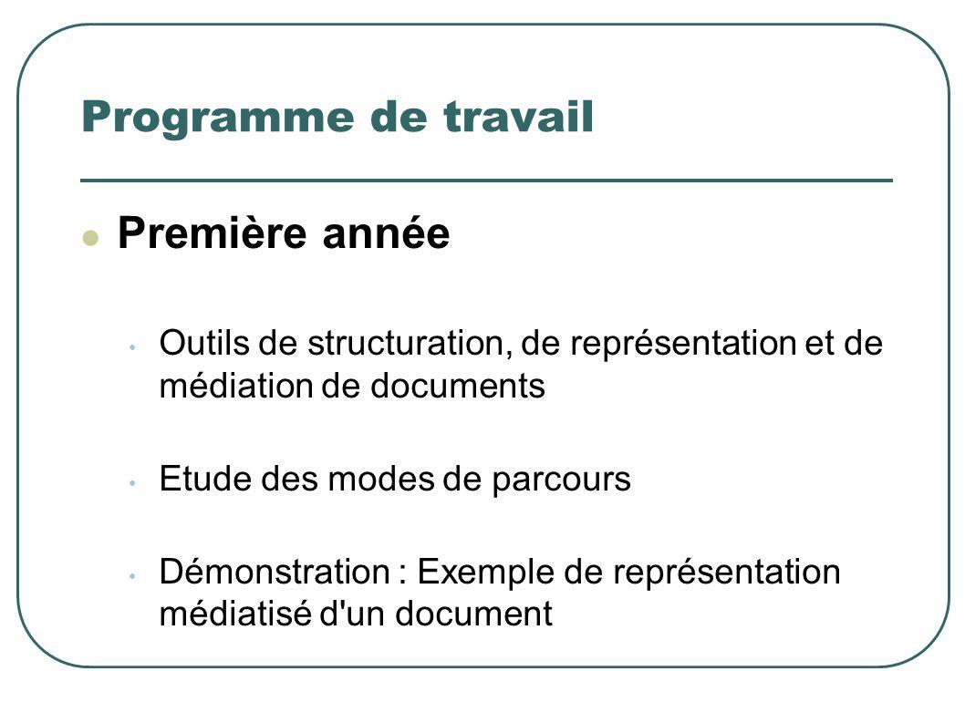 Programme de travail Première année Outils de structuration, de représentation et de médiation de documents Etude des modes de parcours Démonstration : Exemple de représentation médiatisé d un document