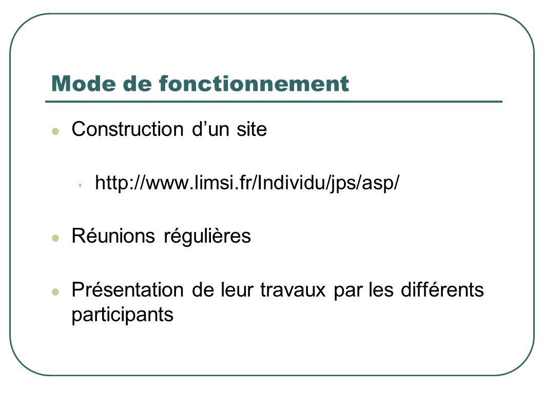 Mode de fonctionnement Construction dun site http://www.limsi.fr/Individu/jps/asp/ Réunions régulières Présentation de leur travaux par les différents participants