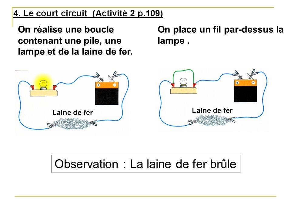 4. Le court circuit (Activité 2 p.109) Laine de fer On réalise une boucle contenant une pile, une lampe et de la laine de fer. On place un fil par-des