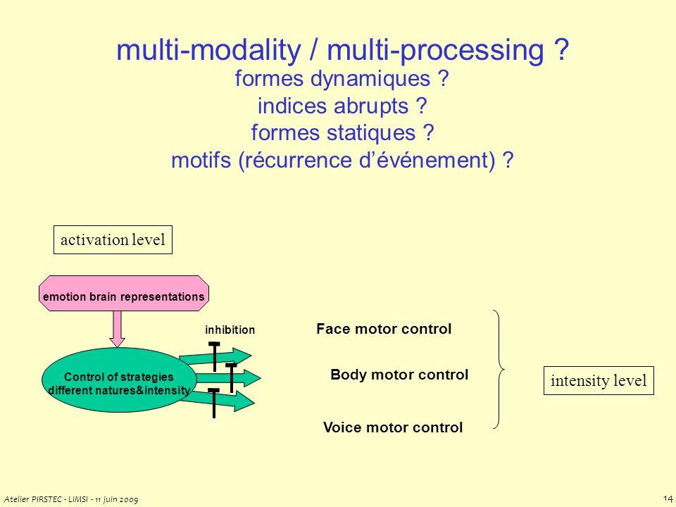 Atelier PIRSTEC - LIMSI - 11 juin 2009 13 multi-modality / multi-processing .