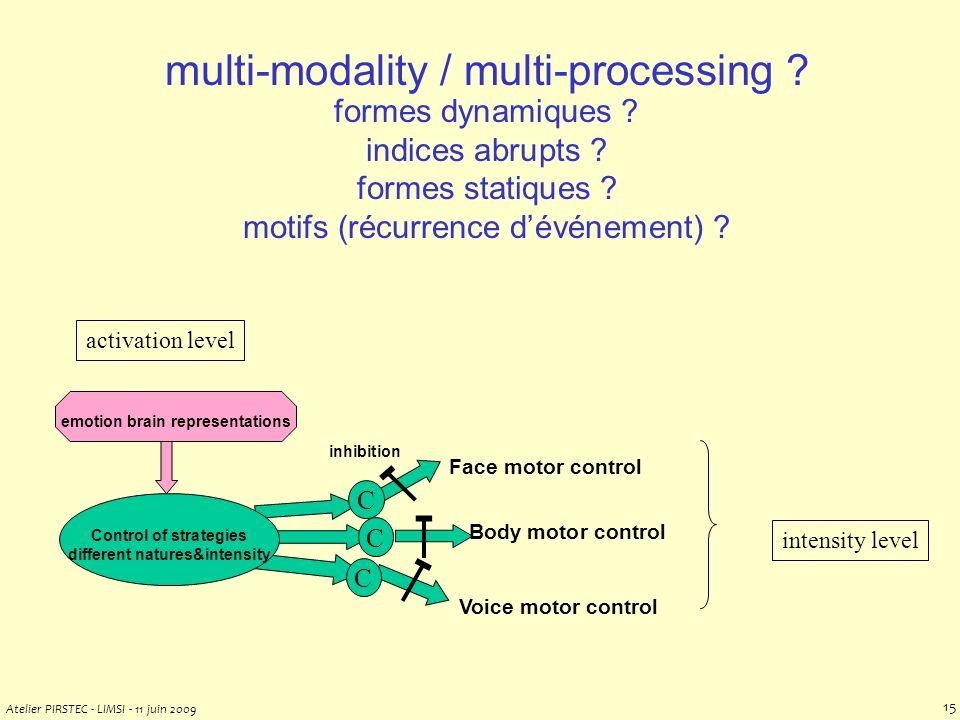 Atelier PIRSTEC - LIMSI - 11 juin 2009 14 multi-modality / multi-processing .