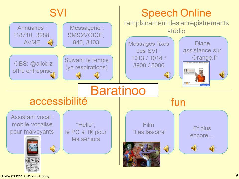 Baratinoo par lexemple Thierry MOUDENC +33 6 80 88 53 21 Juin 2009 Serveur vocal Université Grenoble Pertinence intrinsèque à la SPC corpus = bon prototype de « quand, où, pourquoi, à qui, qui parle .