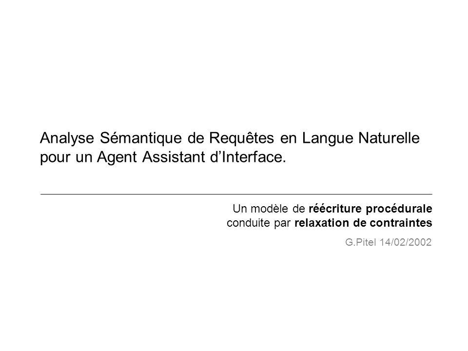 Analyse Sémantique de Requêtes en Langue Naturelle pour un Agent Assistant dInterface. Un modèle de réécriture procédurale conduite par relaxation de