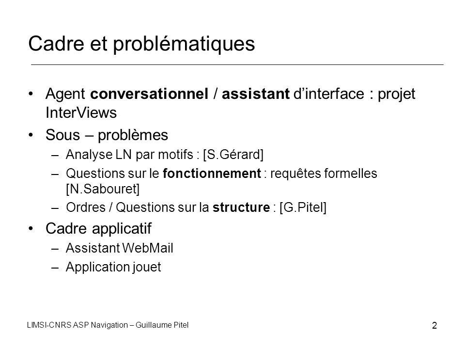 LIMSI-CNRS ASP Navigation – Guillaume Pitel 2 Cadre et problématiques Agent conversationnel / assistant dinterface : projet InterViews Sous – problème