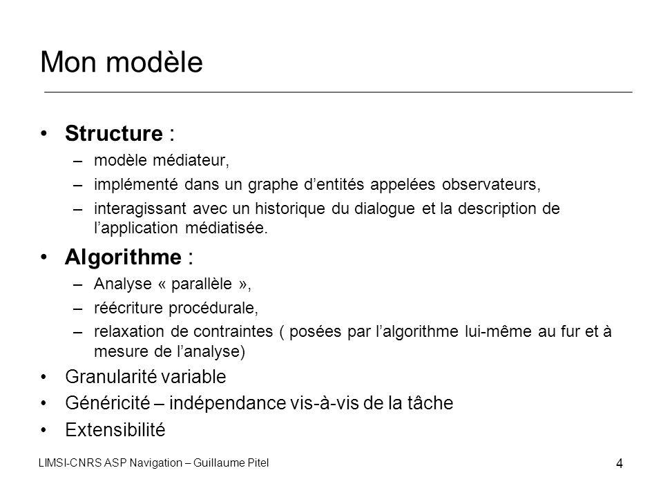 LIMSI-CNRS ASP Navigation – Guillaume Pitel 4 Mon modèle Structure : –modèle médiateur, –implémenté dans un graphe dentités appelées observateurs, –in