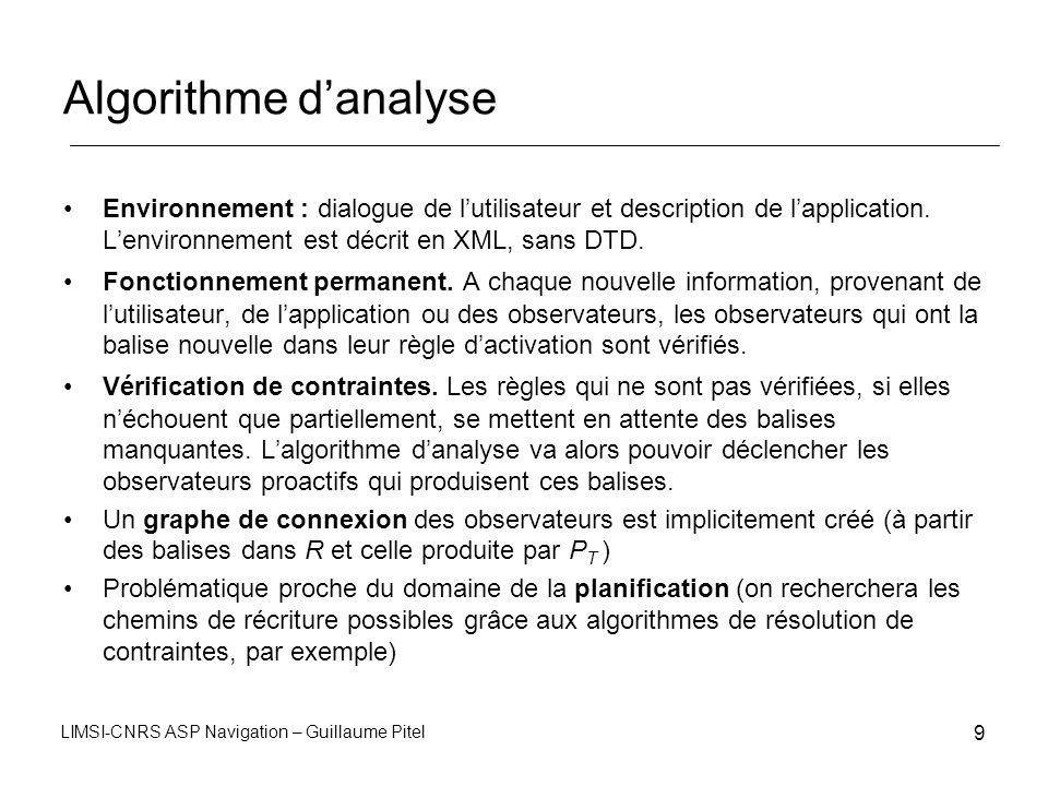 LIMSI-CNRS ASP Navigation – Guillaume Pitel 9 Algorithme danalyse Environnement : dialogue de lutilisateur et description de lapplication. Lenvironnem