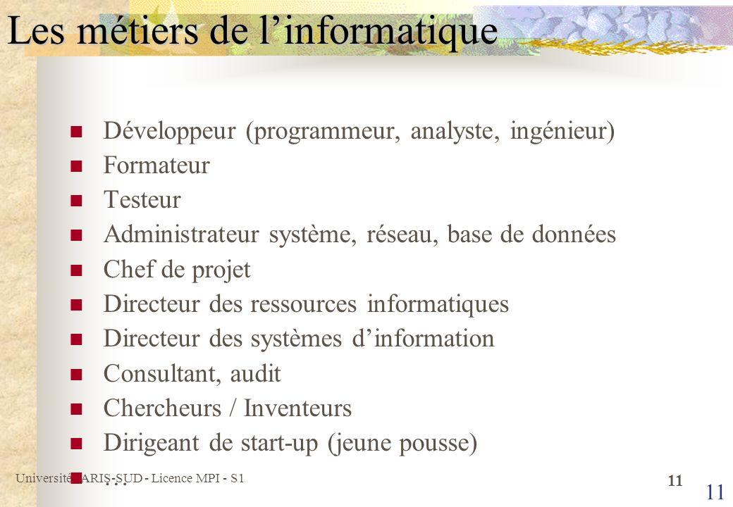 Université PARIS-SUD - Licence MPI - S1 12 Les entreprises qui recrutent Constructeurs (développement matériel, système dexploitation) HP à Grenoble, Apple à Paris, etc.