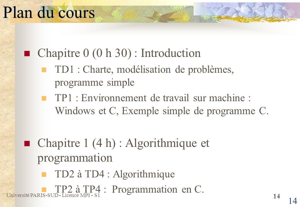 Université PARIS-SUD - Licence MPI - S1 15 Plan du cours (suite) Chapitre 2 (3 h) : Concepts de base de larchitecture de machines TD 5 et TD 6 : Codage et programmation Assembleur TD 7 : Programmation C et Assembleur TP 5 à TP 7 : Visualisation de lexécution de programmes sur lunité de traitement de lordinateur.