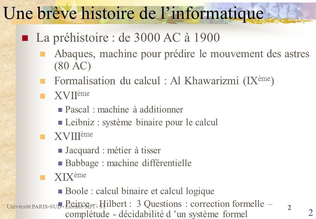 Université PARIS-SUD - Licence MPI - S1 3 3 Une brève histoire de linformatique De 1900 à 1940 Gödel et Turing Tout système formel suffisamment puissant est soit incohérent soit incomplet Problème de larrêt indécidable Les années 40 Travaux en cryptographie (décodage : Machine Enigma, Colossus) Parallèlement, en Angleterre, en Allemagne et aux USA, construction des premiers ordinateurs Calculateur électro-mécanique Mark 1 (Aiken, 44) 1946 : ENIAC Calculs balistiques (Atanasoff, Mauchly Eckert, 46) 44 : EDVAC, Mauchly Eckert et Von Neumann 48 : EDSAC, … Invention du transistor (Baarden, Brattain et Shockley 47)