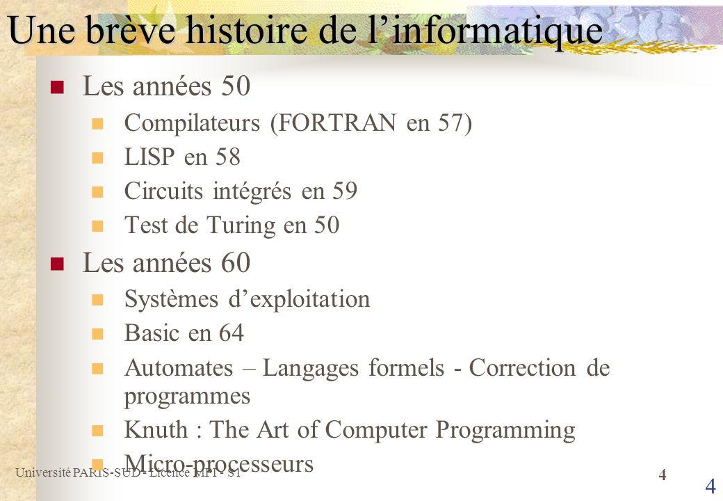 Université PARIS-SUD - Licence MPI - S1 5 5 Une brève histoire de linformatique Les années 70 Base de Données Relationnelles Unix et C (Thompson et Richie) Pascal et Ada Architecture RISC (IBM), Cray 1 en 76 Les années 80 Micro-ordinateur personnel (Apple – MacIntosh en 84) NFSNet en 87 : Ancêtre dInternet Premiers virus en 88 Pour les détails http://dept-info.labri.u-bordeaux.fr/~dicky/HisInfo.html