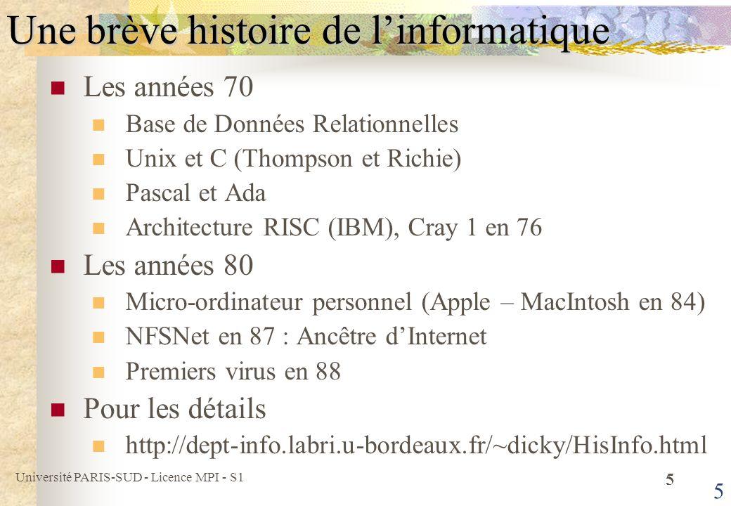 Université PARIS-SUD - Licence MPI - S1 6 6Ordinateur Puce (programme fixe) Calculatrice (programmable) Ordinateur personnel (PC, Macintosh, …) Station de travail (Sun, DEC, HP, …) Super-ordinateur (Cray, IBM-SP, …) Clusters dordinateurs