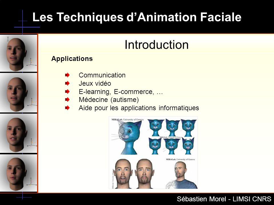 Les Techniques dAnimation Faciale Sébastien Morel - LIMSI CNRS TTS VirChor + MPEG4 Decoder Script APML, VHML Visèmes Emotions Emotion mood Personality Synchronization Prerequirement Mesh + texture (Poser) VRML FDP+FAT+FIT (XFaceEd) Virchor XML Proposition de modèle