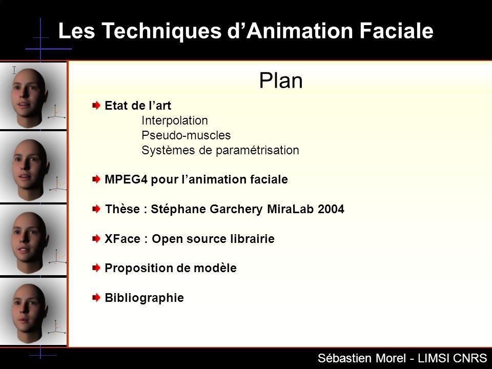 Les Techniques dAnimation Faciale Sébastien Morel - LIMSI CNRS Plan Etat de lart Interpolation Pseudo-muscles Systèmes de paramétrisation MPEG4 pour l