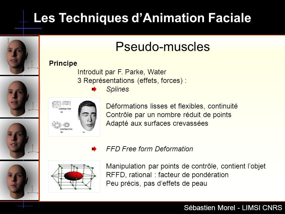 Les Techniques dAnimation Faciale Sébastien Morel - LIMSI CNRS Principe RBF Rational Basis Function Avec Un petit nombre de point caractéristique on en déduit lensemble des points du modèle Déformation lisse sur les régions (proche MPEG4) Indépendant de la topologie Avantages Animation par points de contrôle Continuité des modèles Précision et réalisme Inconvénients Complexe Forte dépendance au modèle à animer Pseudo-muscles