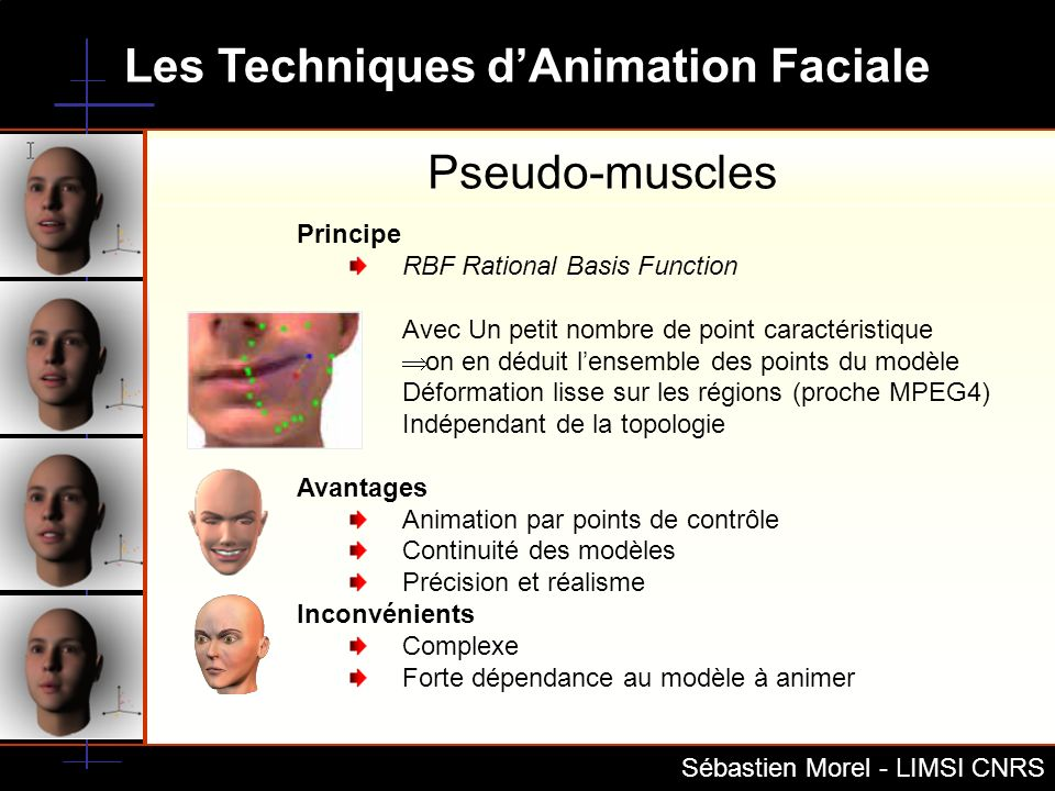 Les Techniques dAnimation Faciale Sébastien Morel - LIMSI CNRS Bibliographie Virtual Talking Heads for Tele-education Applications Carlo Bonamico and Fabio Lavagetto The Department of Informatics, System Science and Telematics - University of Genova The use of emotionally expressive avatars in Collaborative Virtual Environments Marc Fabri, David Moore ISLE Research Group, School of Computing PicToon: A Personalized Image-based Cartoon System Hong Chen, Nan-Ning Zheng, Lin Liang,Yan Li, Ying-Qing Xu, Heung-Yeung Shum Microsoft Research, Asia FEATURE POINT BASED MESH DEFORMATION APPLIED TO MPEG-4 FACIAL ANIMATION Sumedha Kshirsagar, Stephane Garchery, Nadia Magnenat-Thalmann MIRALab, CUI University of Geneva