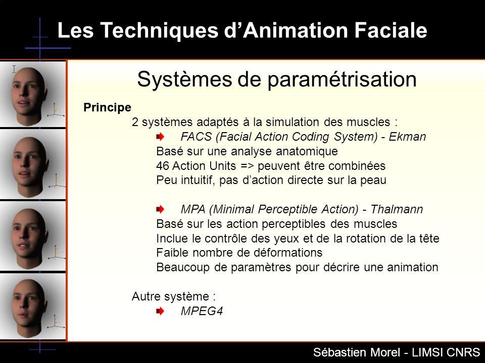 Les Techniques dAnimation Faciale Sébastien Morel - LIMSI CNRS MPEG4 pour lanimation faciale Principes de base Topologie du visage, expression neutre : Polygonal Mesh FDP (Facial Definition Parameter), zone de déformation, poids sur les vertex associés FAP (Facial Animation Parameter), émotion, visème FAPU (Facial Animation Parameter Unit) FAT (Facial Animation Table) FIT (Face Interpolation Technique) Géométrie Sémantique FDP Animation FIT FAPFAT Commande = Flux de FAPs Vertex Déplacement