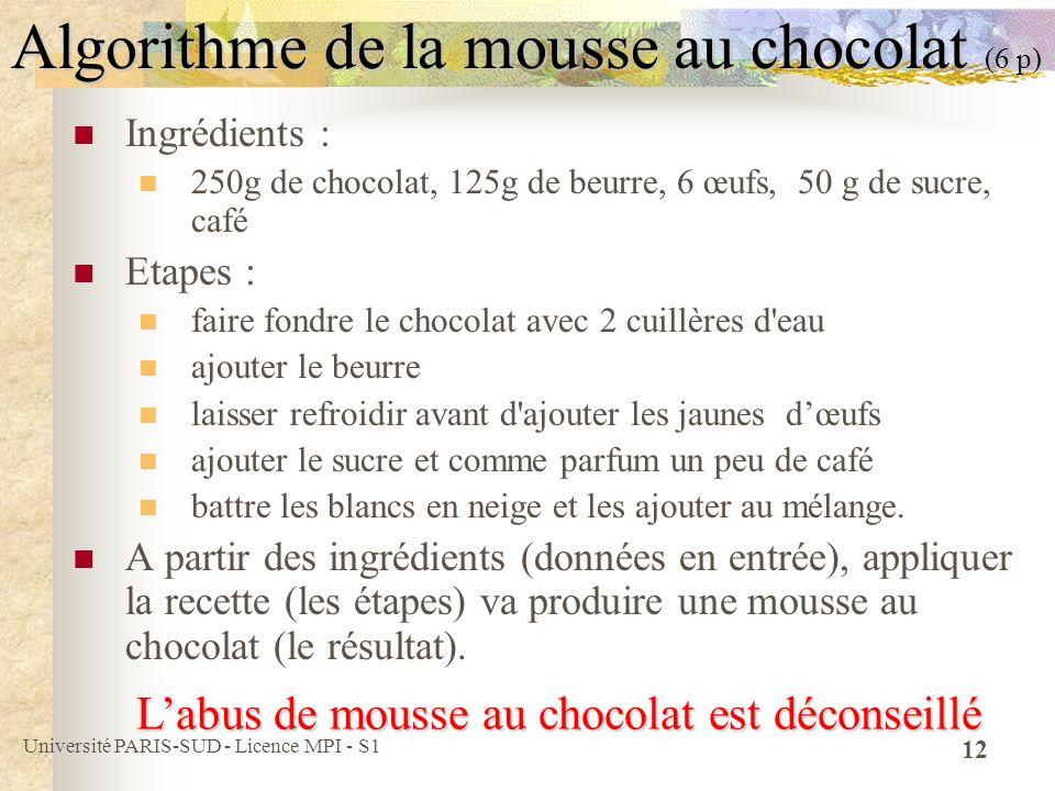Université PARIS-SUD - Licence MPI - S1 12 Algorithme de la mousse au chocolat (6 p) Ingrédients : 250g de chocolat, 125g de beurre, 6 œufs, 50 g de s