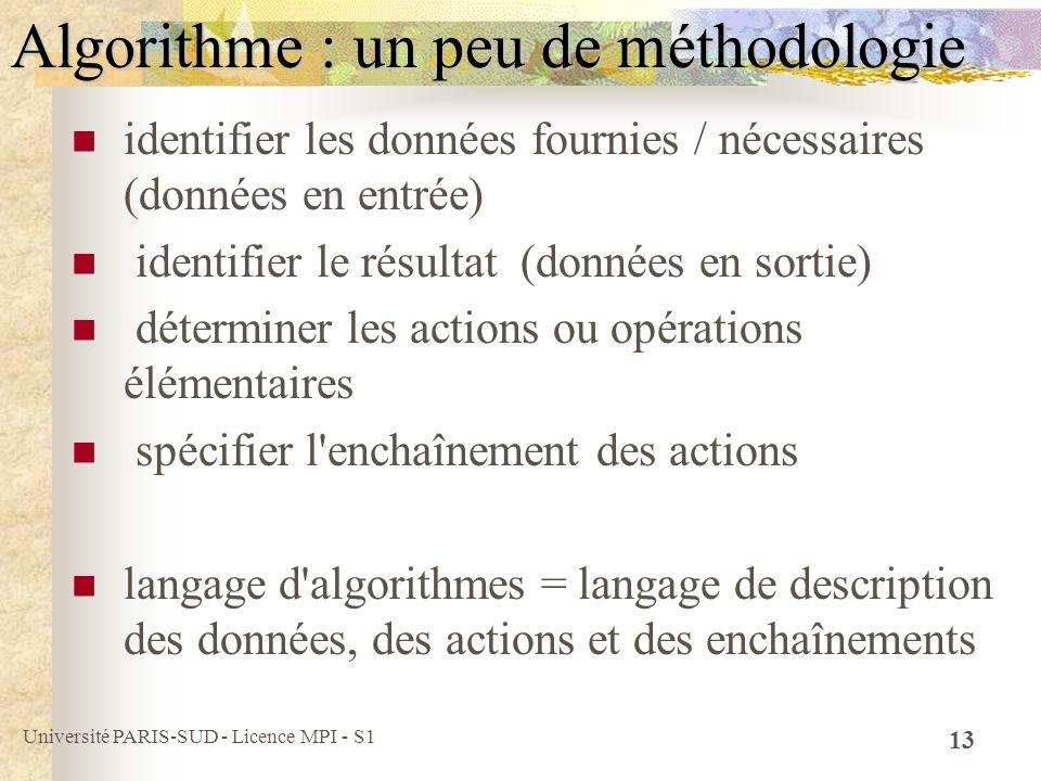 Université PARIS-SUD - Licence MPI - S1 13 Algorithme : un peu de méthodologie identifier les données fournies / nécessaires (données en entrée) ident