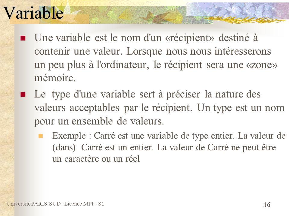 Université PARIS-SUD - Licence MPI - S1 16Variable Une variable est le nom d'un «récipient» destiné à contenir une valeur. Lorsque nous nous intéresse