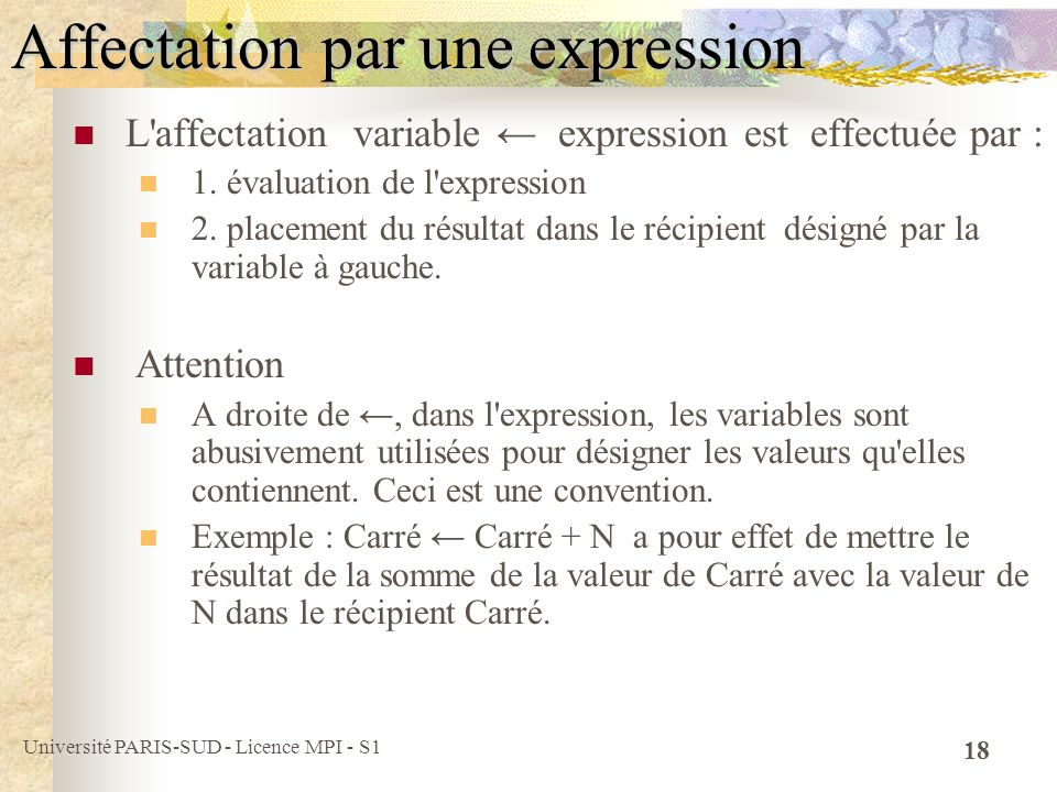Université PARIS-SUD - Licence MPI - S1 18 Affectation par une expression L affectation variable expression est effectuée par : 1.