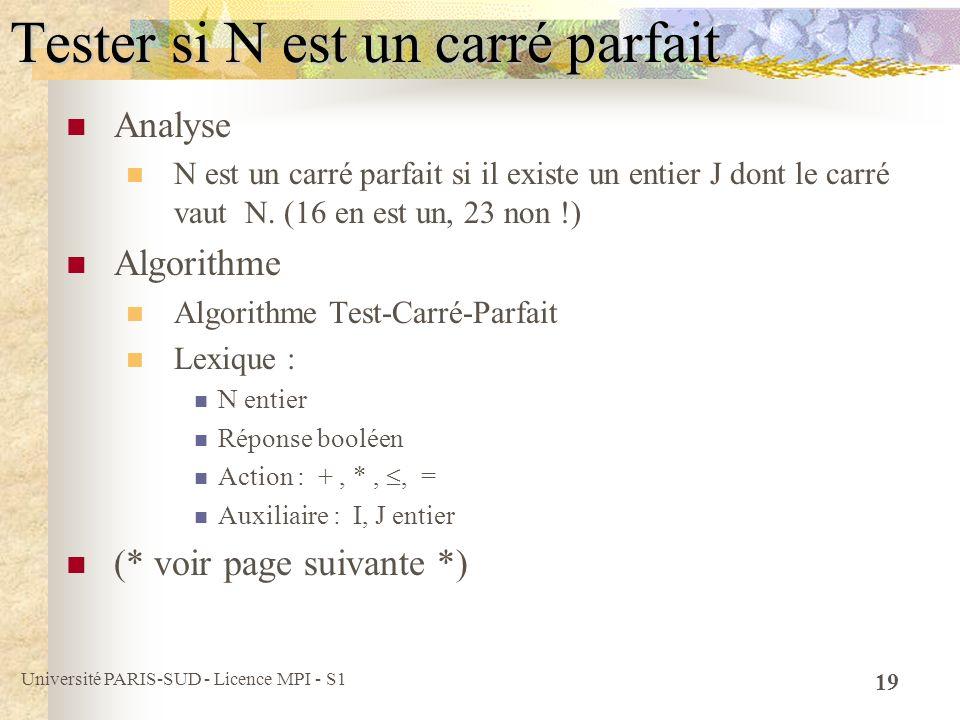 Université PARIS-SUD - Licence MPI - S1 19 Tester si N est un carré parfait Analyse N est un carré parfait si il existe un entier J dont le carré vaut