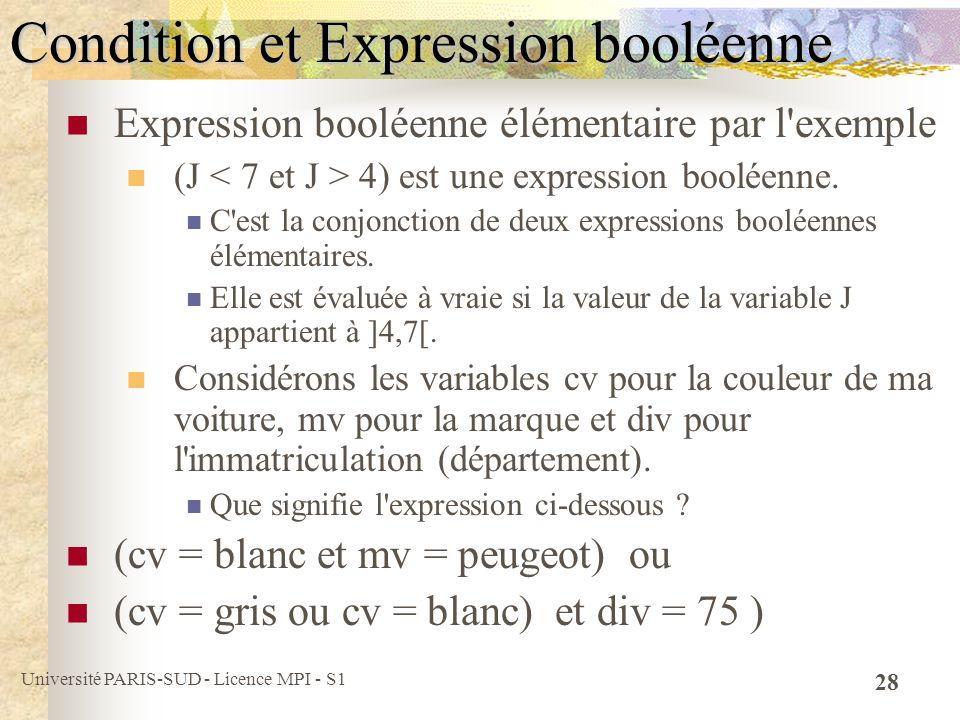 Université PARIS-SUD - Licence MPI - S1 28 Condition et Expression booléenne Expression booléenne élémentaire par l'exemple (J 4) est une expression b