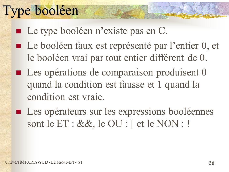 Université PARIS-SUD - Licence MPI - S1 36 Type booléen Le type booléen nexiste pas en C. Le booléen faux est représenté par lentier 0, et le booléen