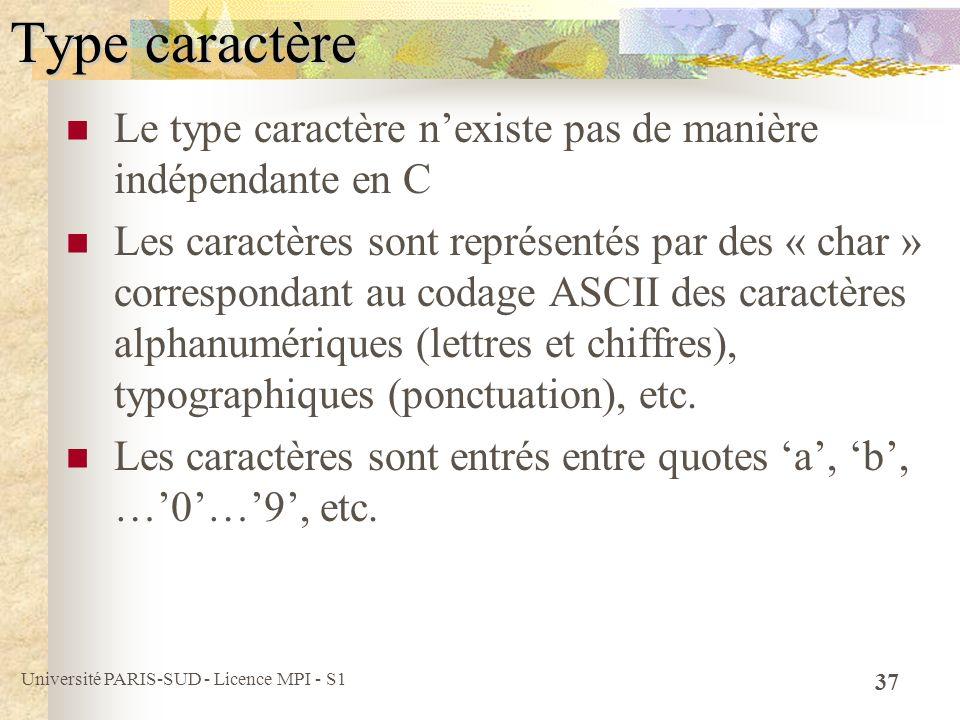 Université PARIS-SUD - Licence MPI - S1 37 Type caractère Le type caractère nexiste pas de manière indépendante en C Les caractères sont représentés p