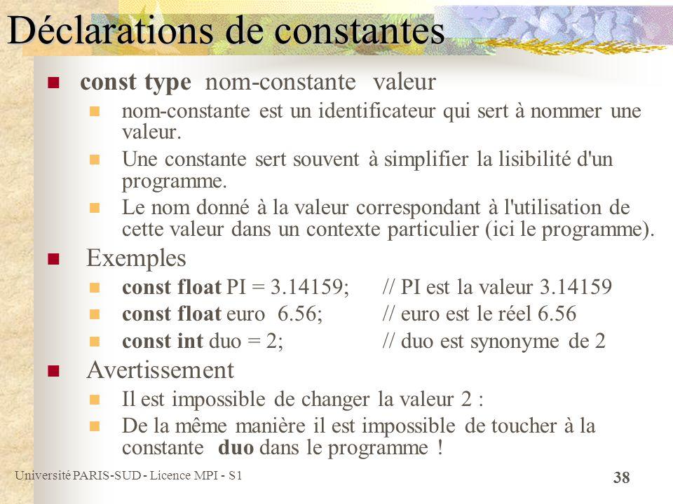 Université PARIS-SUD - Licence MPI - S1 38 Déclarations de constantes const type nom-constante valeur nom-constante est un identificateur qui sert à n