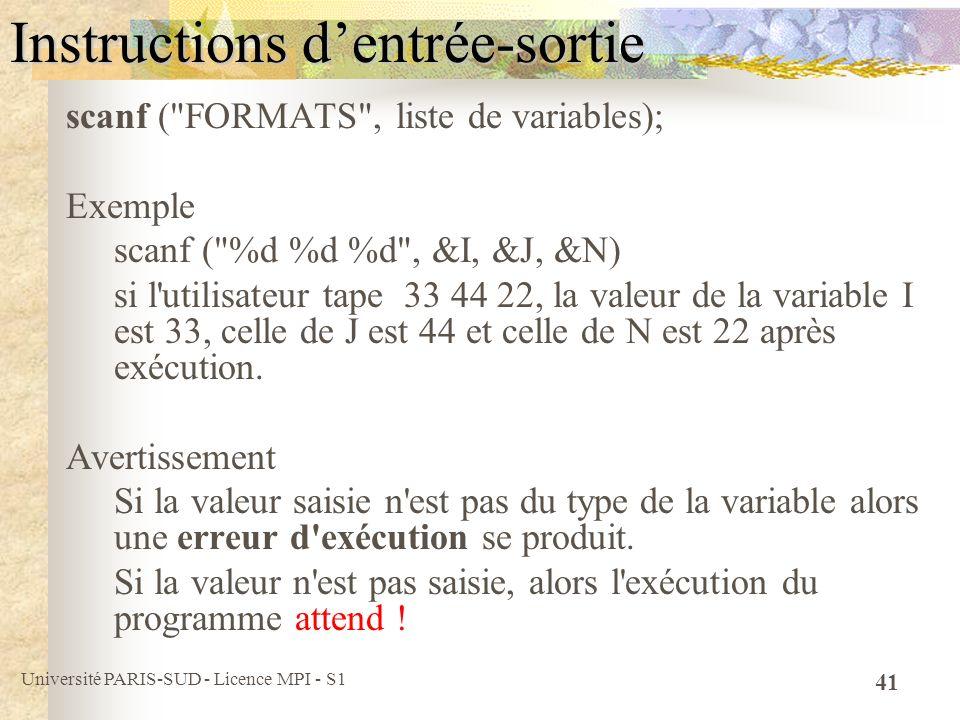 Université PARIS-SUD - Licence MPI - S1 41 Instructions dentrée-sortie scanf (