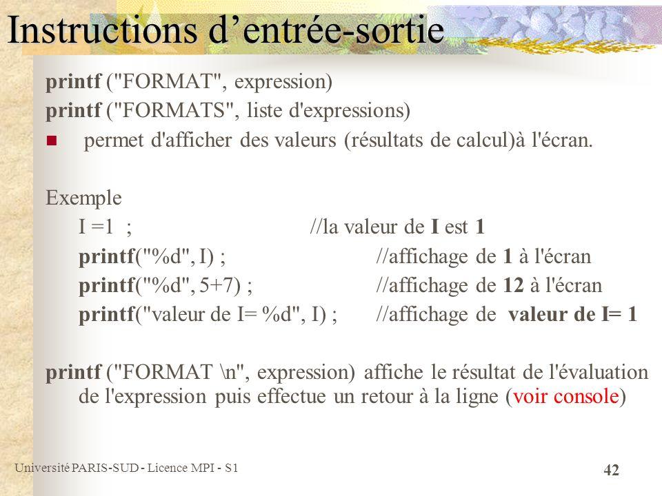 Université PARIS-SUD - Licence MPI - S1 42 Instructions dentrée-sortie printf (