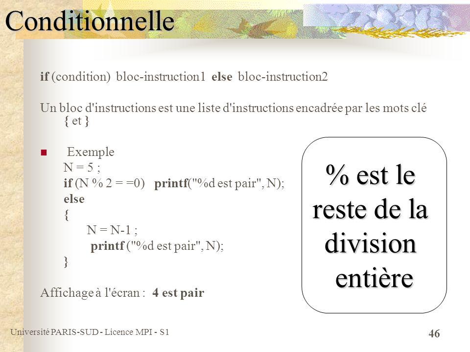 Université PARIS-SUD - Licence MPI - S1 46Conditionnelle if (condition) bloc-instruction1 else bloc-instruction2 Un bloc d'instructions est une liste