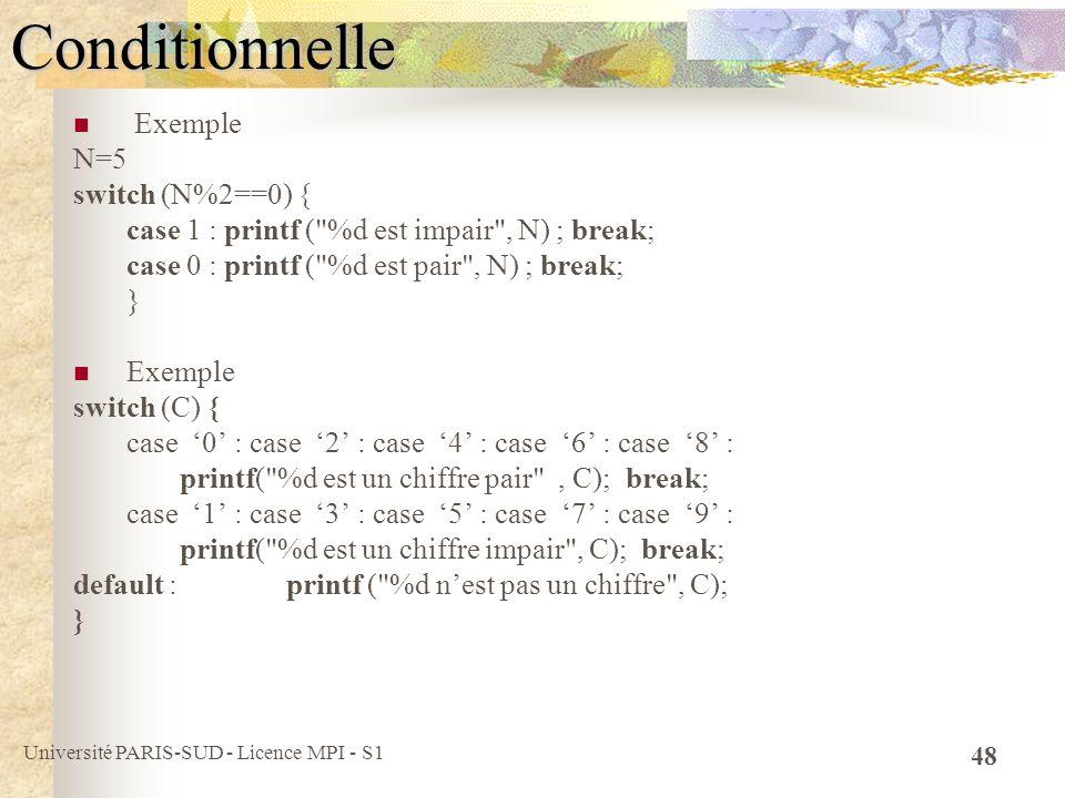 Université PARIS-SUD - Licence MPI - S1 48Conditionnelle Exemple N=5 switch (N%2==0) { case 1 : printf (