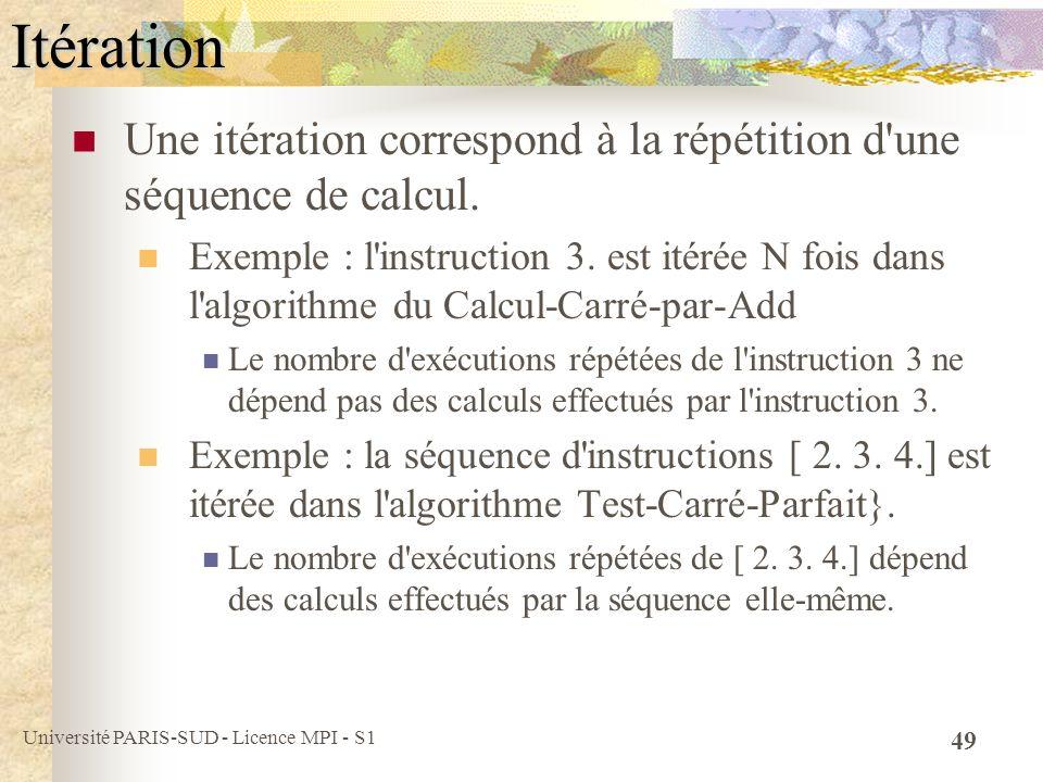 Université PARIS-SUD - Licence MPI - S1 49Itération Une itération correspond à la répétition d'une séquence de calcul. Exemple : l'instruction 3. est
