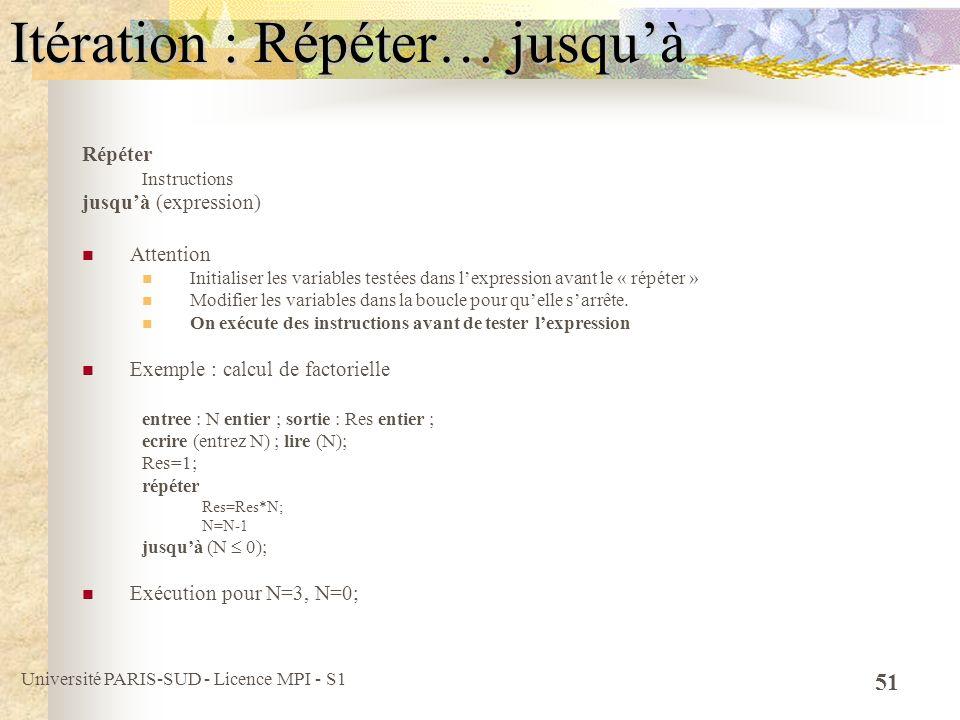 Université PARIS-SUD - Licence MPI - S1 51 Itération : Répéter… jusquà Répéter Instructions jusquà (expression) Attention Initialiser les variables te
