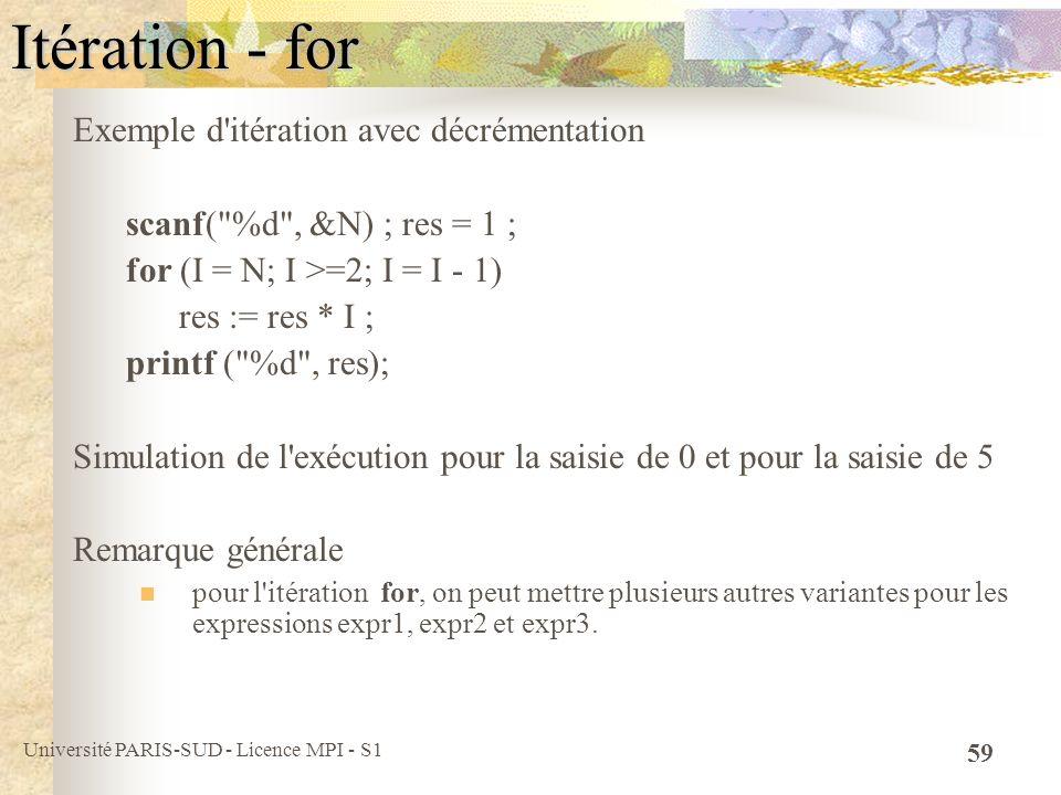 Université PARIS-SUD - Licence MPI - S1 59 Itération - for Exemple d'itération avec décrémentation scanf(
