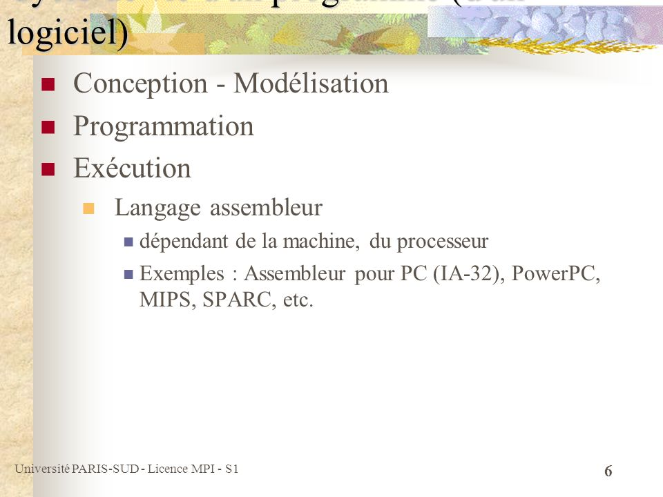 Université PARIS-SUD - Licence MPI - S1 6 Conception - Modélisation Programmation Exécution Langage assembleur dépendant de la machine, du processeur