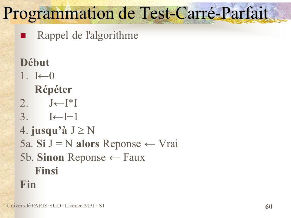 Université PARIS-SUD - Licence MPI - S1 60 Programmation de Test-Carré-Parfait Rappel de l'algorithme Début 1.I0 Répéter 2.JI*I 3.II+1 4. jusquà J N 5