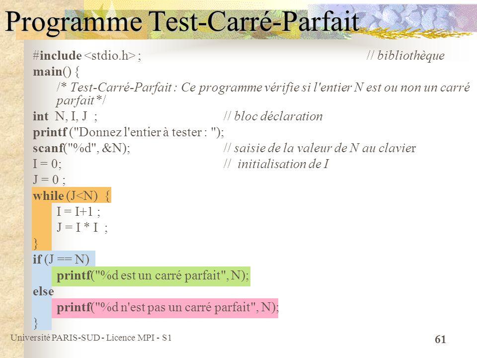 Université PARIS-SUD - Licence MPI - S1 61 Programme Test-Carré-Parfait #include ; // bibliothèque main() { /* Test-Carré-Parfait : Ce programme vérif