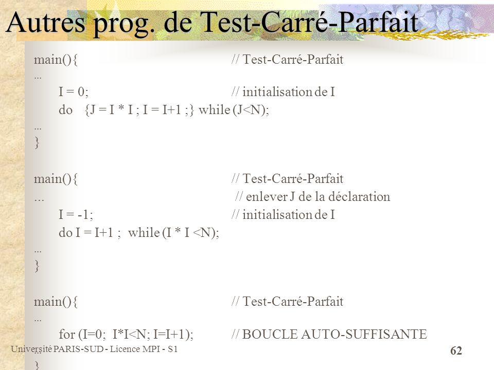 Université PARIS-SUD - Licence MPI - S1 62 Autres prog. de Test-Carré-Parfait main(){ // Test-Carré-Parfait... I = 0; // initialisation de I do {J = I