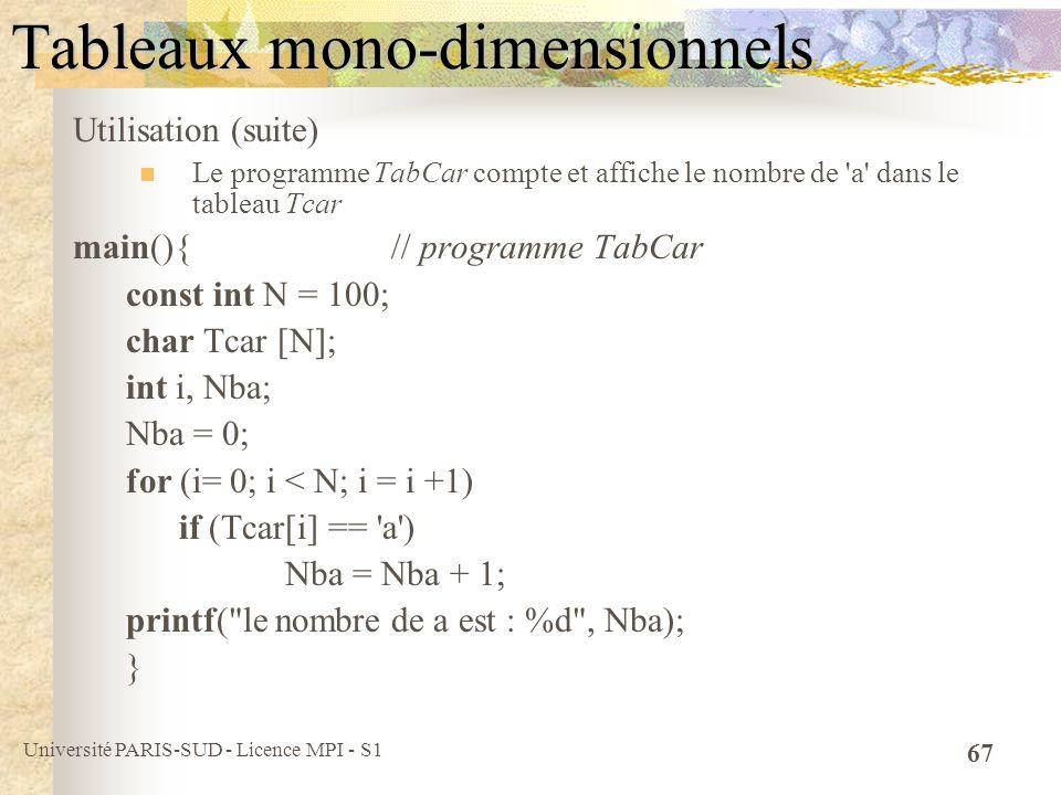 Université PARIS-SUD - Licence MPI - S1 67 Tableaux mono-dimensionnels Utilisation (suite) Le programme TabCar compte et affiche le nombre de 'a' dans