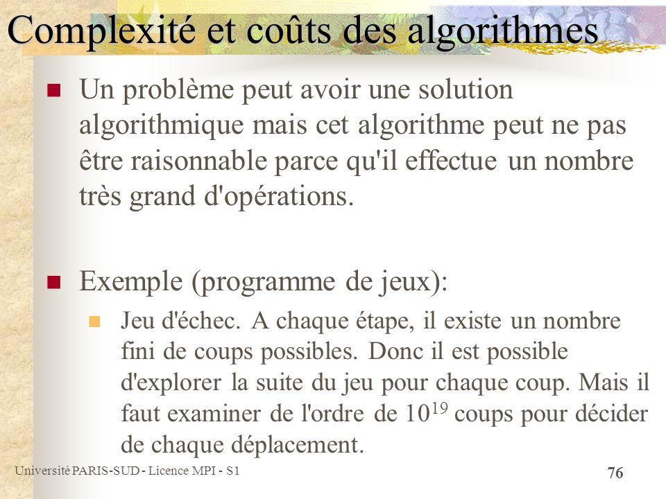 Université PARIS-SUD - Licence MPI - S1 76 Complexité et coûts des algorithmes Un problème peut avoir une solution algorithmique mais cet algorithme p