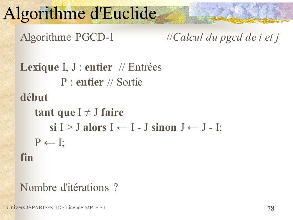 Université PARIS-SUD - Licence MPI - S1 78 Algorithme d'Euclide Algorithme PGCD-1 //Calcul du pgcd de i et j Lexique I, J : entier // Entrées P : enti