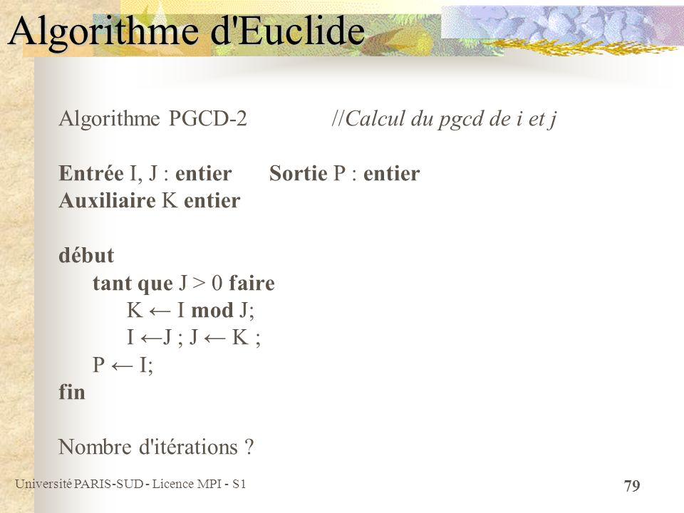 Université PARIS-SUD - Licence MPI - S1 79 Algorithme d'Euclide Algorithme PGCD-2 //Calcul du pgcd de i et j Entrée I, J : entier Sortie P : entier Au