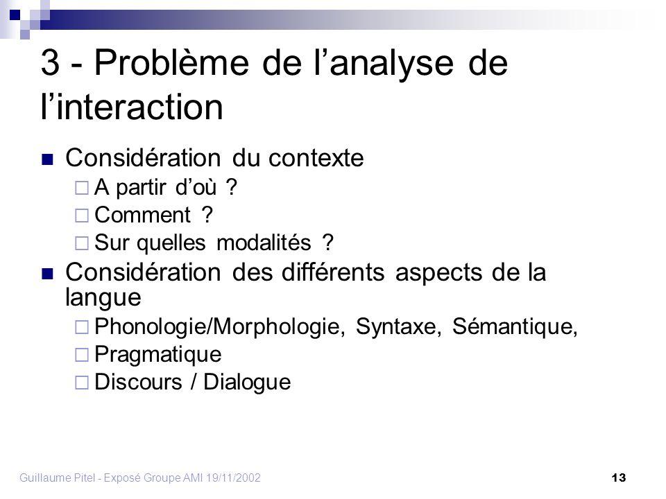 Guillaume Pitel - Exposé Groupe AMI 19/11/2002 13 3 - Problème de lanalyse de linteraction Considération du contexte A partir doù .