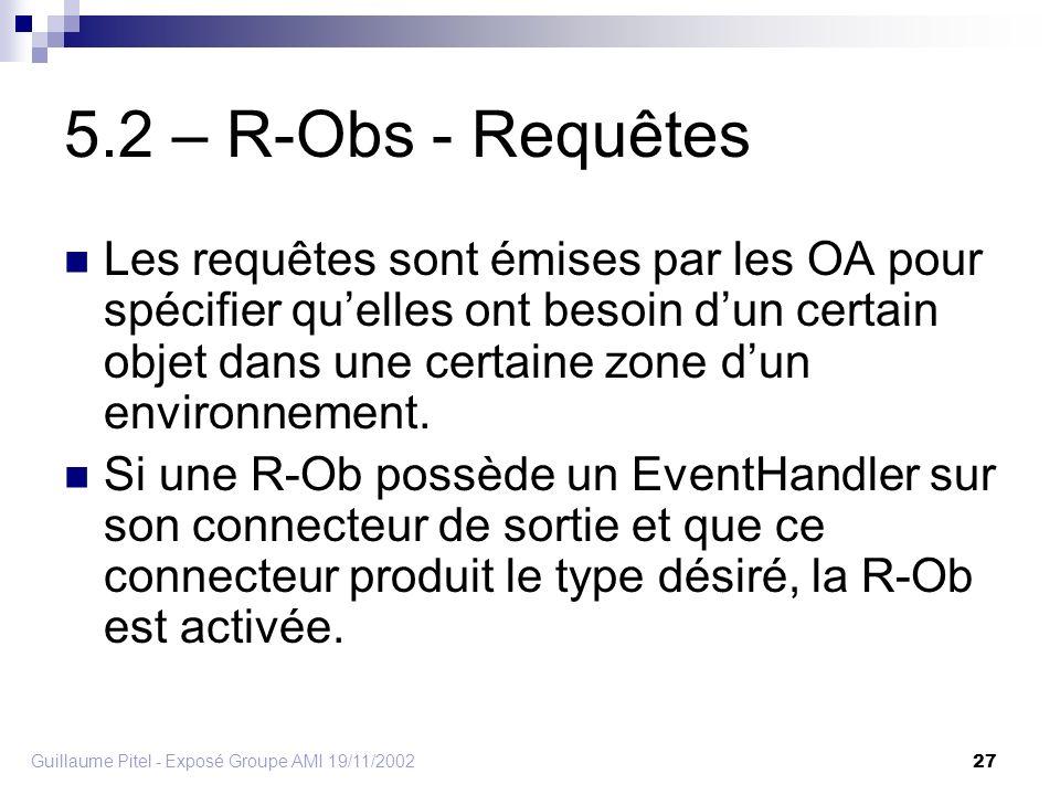 Guillaume Pitel - Exposé Groupe AMI 19/11/2002 27 5.2 – R-Obs - Requêtes Les requêtes sont émises par les OA pour spécifier quelles ont besoin dun certain objet dans une certaine zone dun environnement.